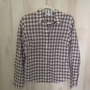 James Perse Plaid Button Down Shirt Size 3 (L)